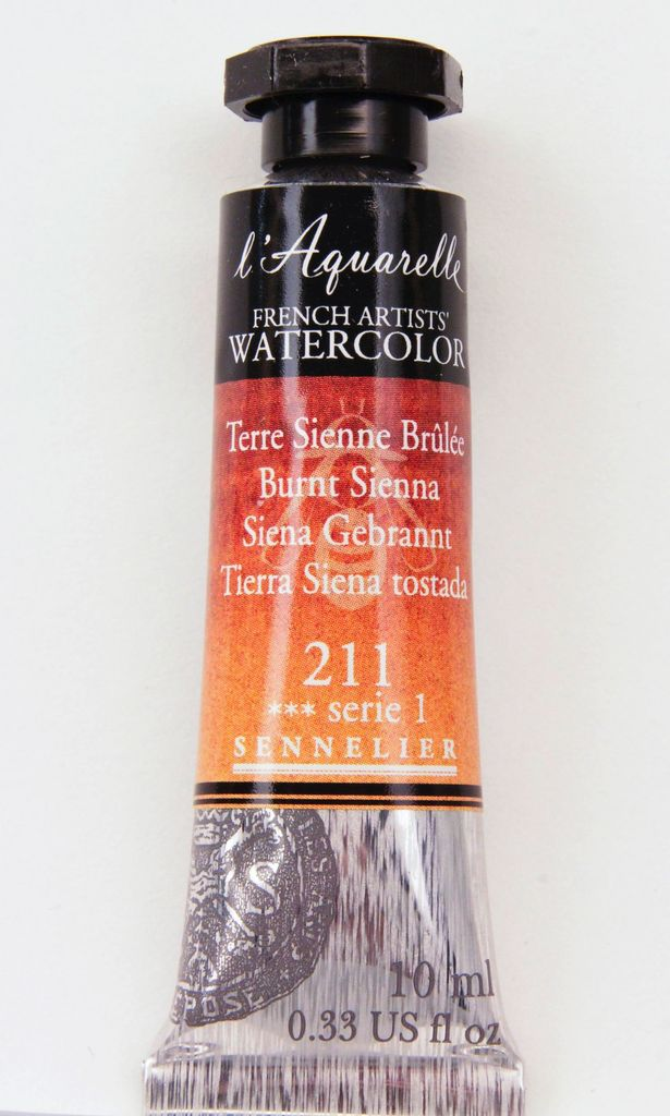 France Sennelier, Aquarelle Watercolor Paint, Burnt Sienna, 211,10ml Tube, Series 1