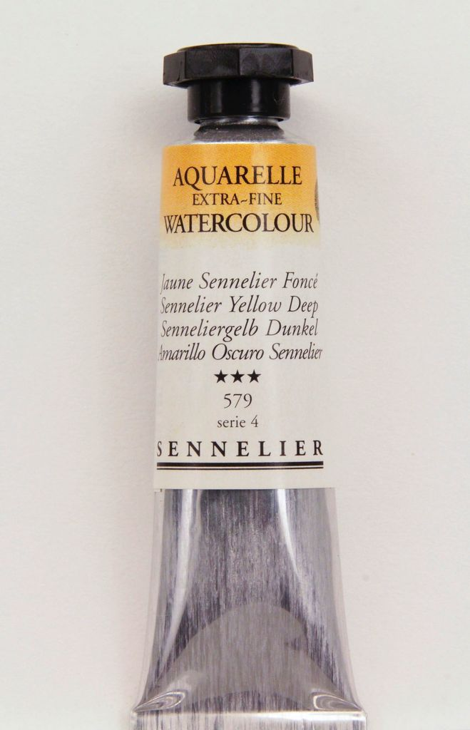 France Sennelier, Aquarelle Watercolor Paint, Yellow Deep, 579,10ml Tube, Series 4