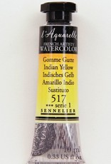 France Sennelier, Aquarelle Watercolor Paint, Indian Yellow, 517,10ml Tube, Series 1