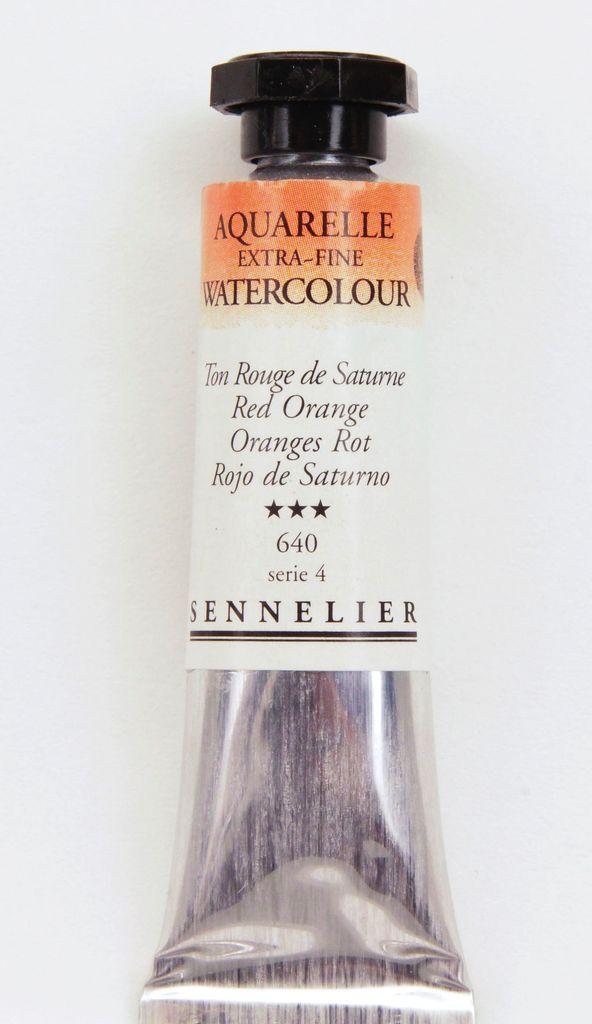 France Sennelier, Aquarelle Watercolor Paint, Red Orange, 640,10ml Tube, Series 4