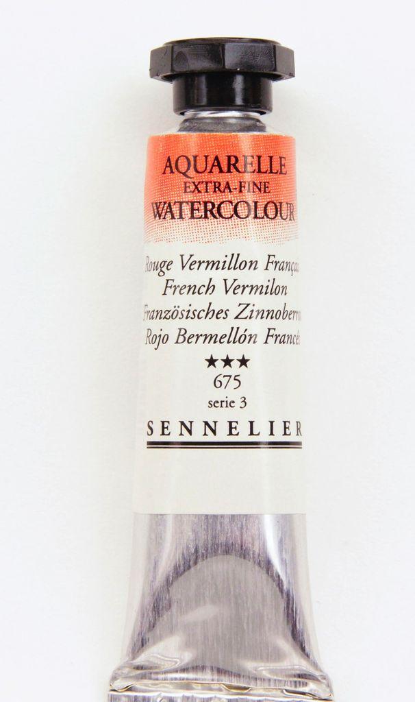 France Sennelier, Aquarelle Watercolor Paint, French Vermilion, 675,10ml Tube, Series 3