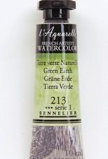 France Sennelier, Aquarelle Watercolor Paint, Green Earth, 213,10ml Tube, Series 1