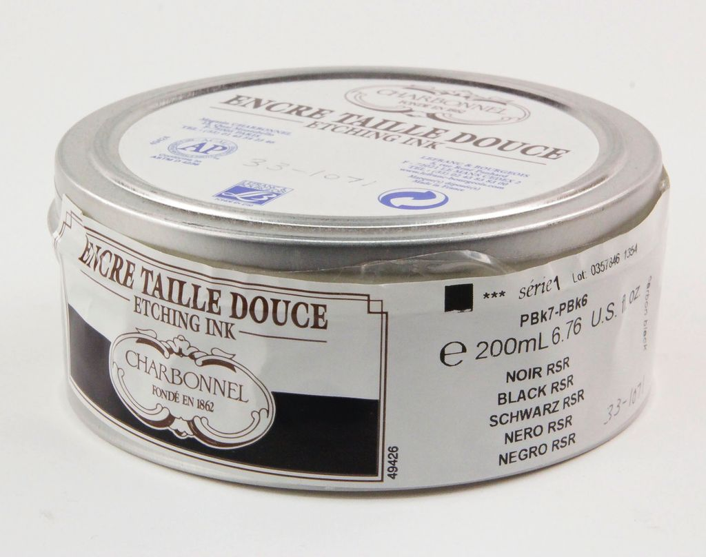 France Charbonnel, Etching Ink, Black RSR, Series 1, 200ml, Can