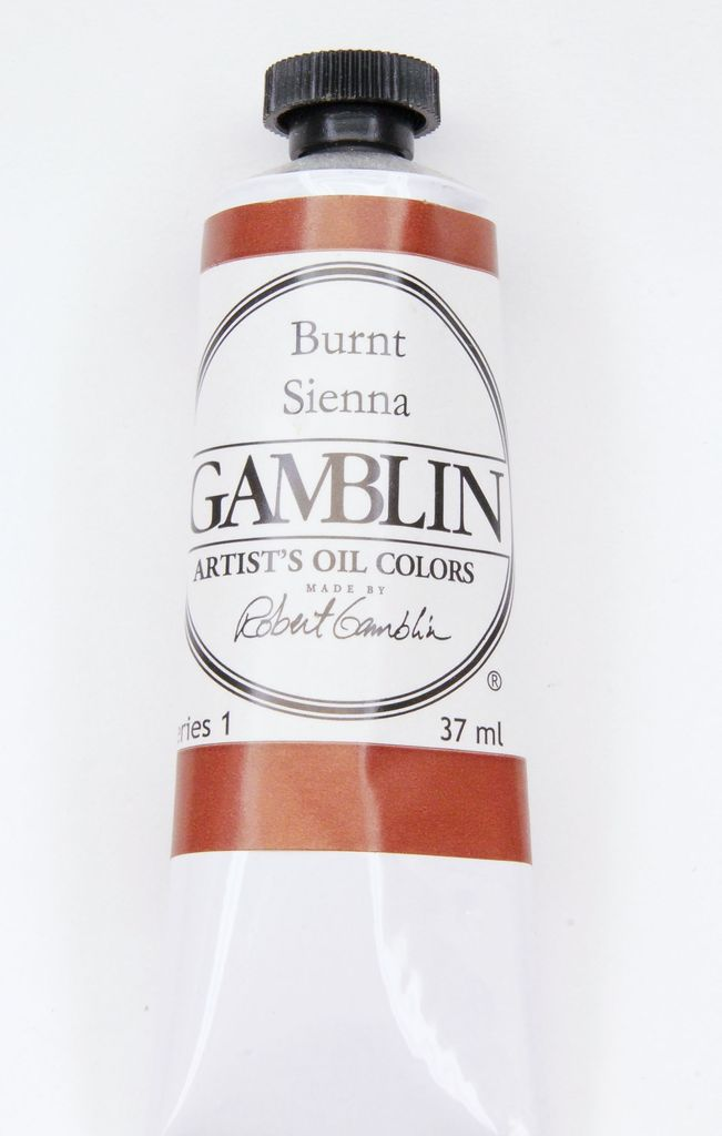 Domestic Gamblin Oil Paint, Burnt Sienna, Series 1, Tube 37ml<br /> List Price: $10.95