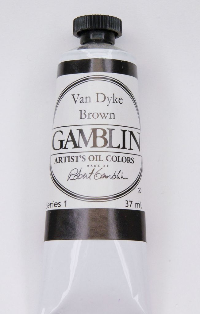Domestic Gamblin Oil Paint, Van Dyke Brown, Series 1, Tube 37ml<br /> List Price: $10.95