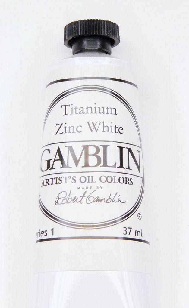 Domestic Gamblin Oil Paint, Titanium Zinc White, Series 1, Tube 37ml<br /> List Price: $10.95