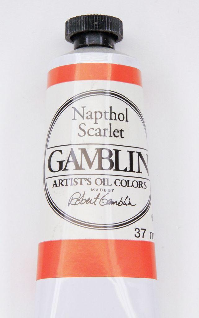 Domestic Gamblin Oil Paint, Napthol Scarlet, Series 2, Tube 37ml<br /> List Price: 12.95