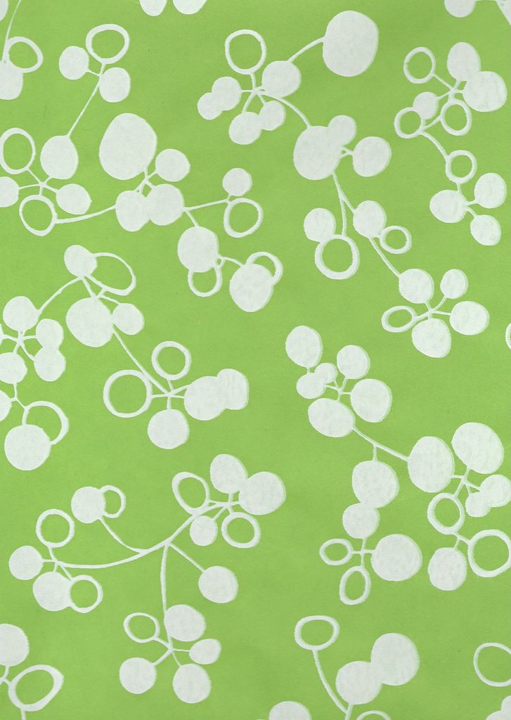 """Thailand Ginkgo Fruit, Apple Green with White, Mulberry Screenprint, 25"""" x 37"""""""