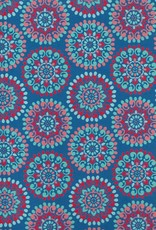 "India Indian Flower Mandalas, Light Blue, Red, Pink on Blue, 22"" x 30"""