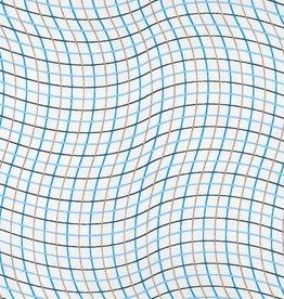 "India Wavy Grid, Blue, Gold on White, 22"" x 30"""