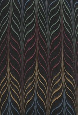 "India Indian Marble, Metallic Red, Yellow, Green, Blue on Black, Long Feather, 22"" x 30"""