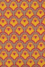 "India Castle Wallpaper, Yellow, Red on Grey Brown, 22"" x 30"""