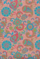 """India Paisley and Blooms, Blue, Green, Red and Gold on Pink, 22"""" x 30"""""""