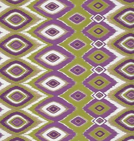 """India Diamond Feather Design, Olive, Purple and Gold on White, 22"""" x 30"""""""