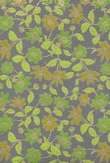 """India Wild Flowers Green, Green, Lime, Moss on Grey, 22"""" x 30"""""""
