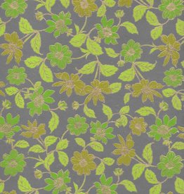 "India Wild Flowers Green, Green, Lime, Moss on Grey, 22"" x 30"""