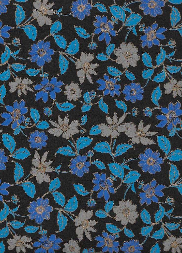"India Wild Flowers Blue, Grey, Gold Lines on Black, 22"" x 30"""
