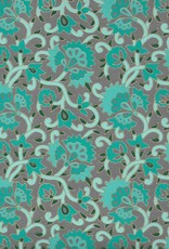 "India Fire Flowers and Ivy, Blue, Teal, and Gold Lines on Grey, 22"" x 30"" Limited Quantities"