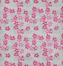 """India Forget-Me-Nots, Silver, Pink, Dark Pink, on Natural, 22"""" x 30"""""""