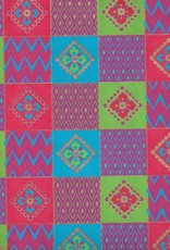 "India Quilt Squares with Flowers, Red, Blue, Green on Magenta, 22"" x 30"""