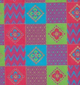 """India Quilt Squares with Flowers, Red, Blue, Green on Magenta, 22"""" x 30"""""""