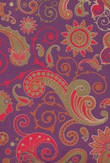 "India Sixties Psychedelic Paisley Sun, Red, Orange, Mustard, Gold on Purple, 22"" x 30"""