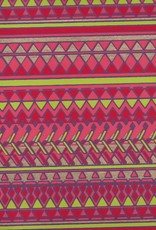 "India Egyptian Diamond Design, Red, Orange, Lime, Gold on Purple, 22"" x 30"""