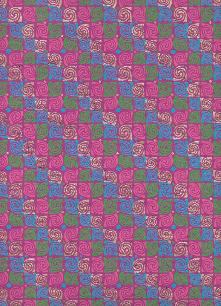 "India Swirly Rose, Pink, Blue, Green, Gold on Purple, 22"" x 30"""