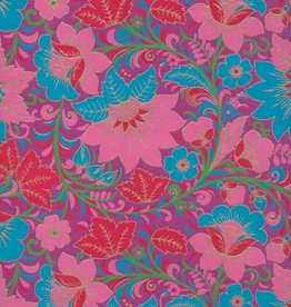 """India Garden Flowers with Poppies, Blue, Red, Pink, Green on Purple, 22"""" x 30"""""""