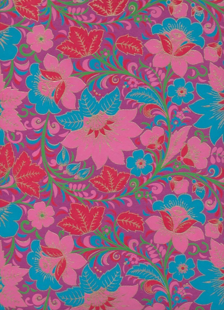 "India Garden Flowers with Poppies, Blue, Red, Pink, Green on Purple, 22"" x 30"""