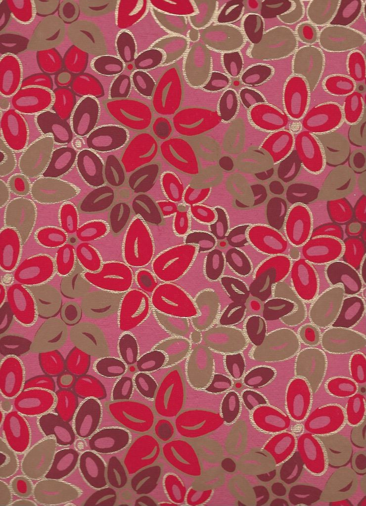 """India Magnolias, Red, Burgundy, Gold on Pink, 22"""" x 30"""""""