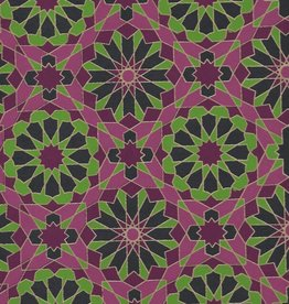 "India Star Mosaics, Green, Purple with Gold Lines on Navy, 22"" x 30"""