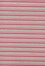 "India Wavy Zig Zag Stripes, Red, Pink, Gold on Natural, 22"" x 30"""