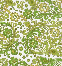 "India Seventies Paisley Wallpaper, Olive, Green, Mustard on White, 22"" x 30"""