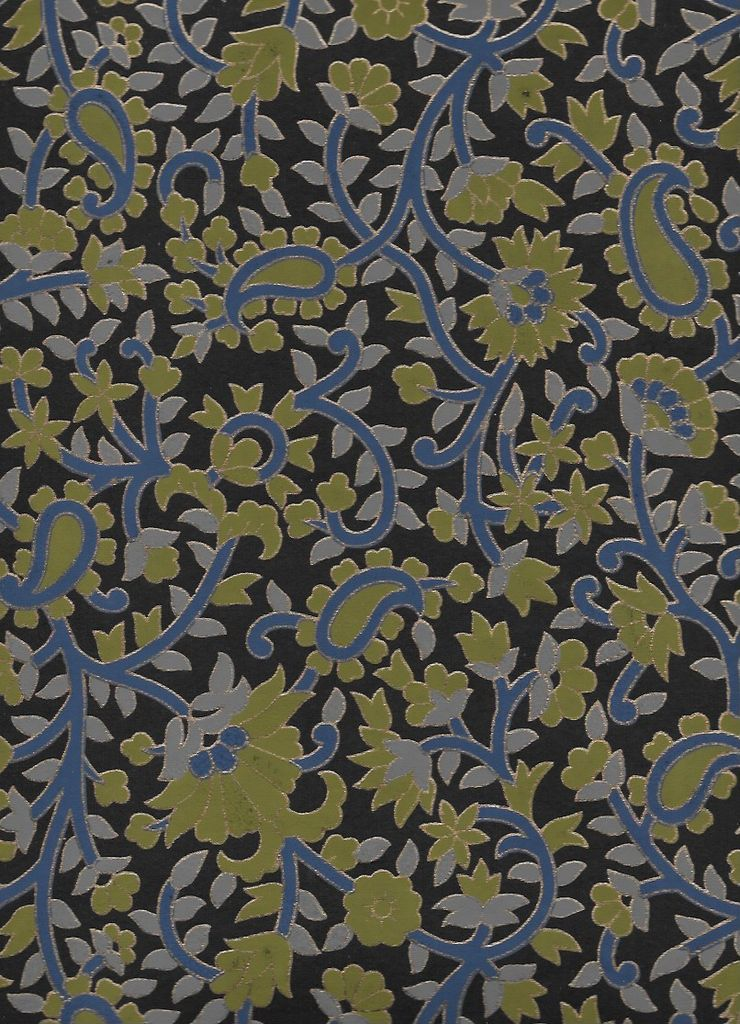 "India Garden Flowers with Paislies, Blue, Olive, Gold on Black, 22"" x 30"""