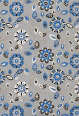 "India Garden Flowers with Mandalas, Blue, White, Black on Grey, 22"" x 30"""