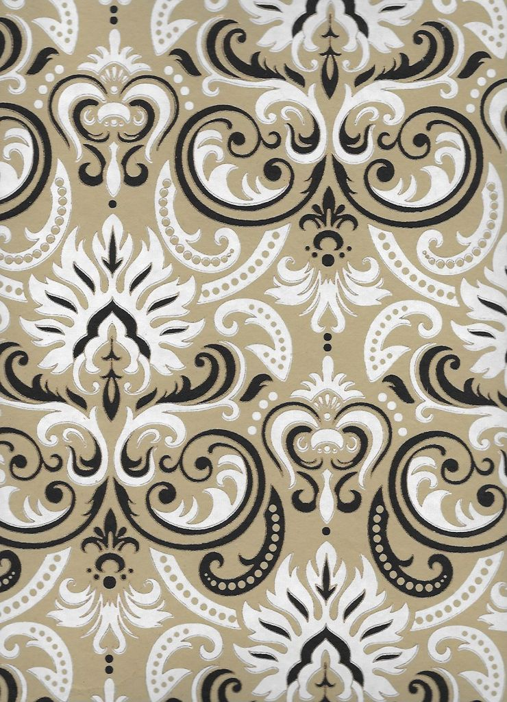 "India White Fire Ornate Swirls, White, Black, Gold on Light Brown, 22"" x 30"""