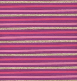 "India Indian Stripes, Pink, Dark Pink, Gold on Purple, 22"" x 30"""