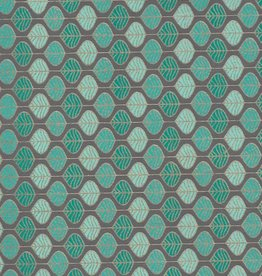 "India Mint Chocolate Chip Leaves, Green, Blue, Gild Lines on Grey,  22"" x 30"" Limited Quantities"
