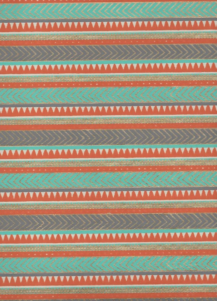 "India Egyptian Rug, Orange, Light Blue, Gold on White, 22"" x 30"" Limited Quantities"