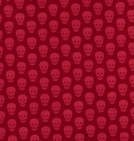 "Nepal Lokta Skulls, Red on Red, 20"" x 30"""