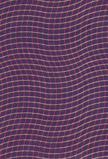 "India Wavy Grid, Red, Gold on Purple, 22"" x 30"""