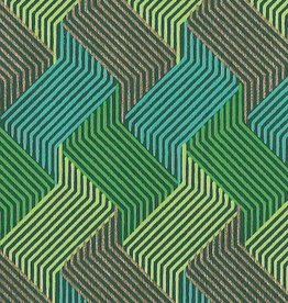"""India Circuit Grid Boxes, Green, Blue, Gold on Green 22"""" x 30"""""""