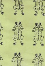"Nepal Lokta Frogs on Lime Green 20"" x 30"""