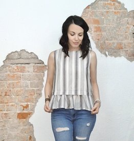 Cream & Stripes Peplum