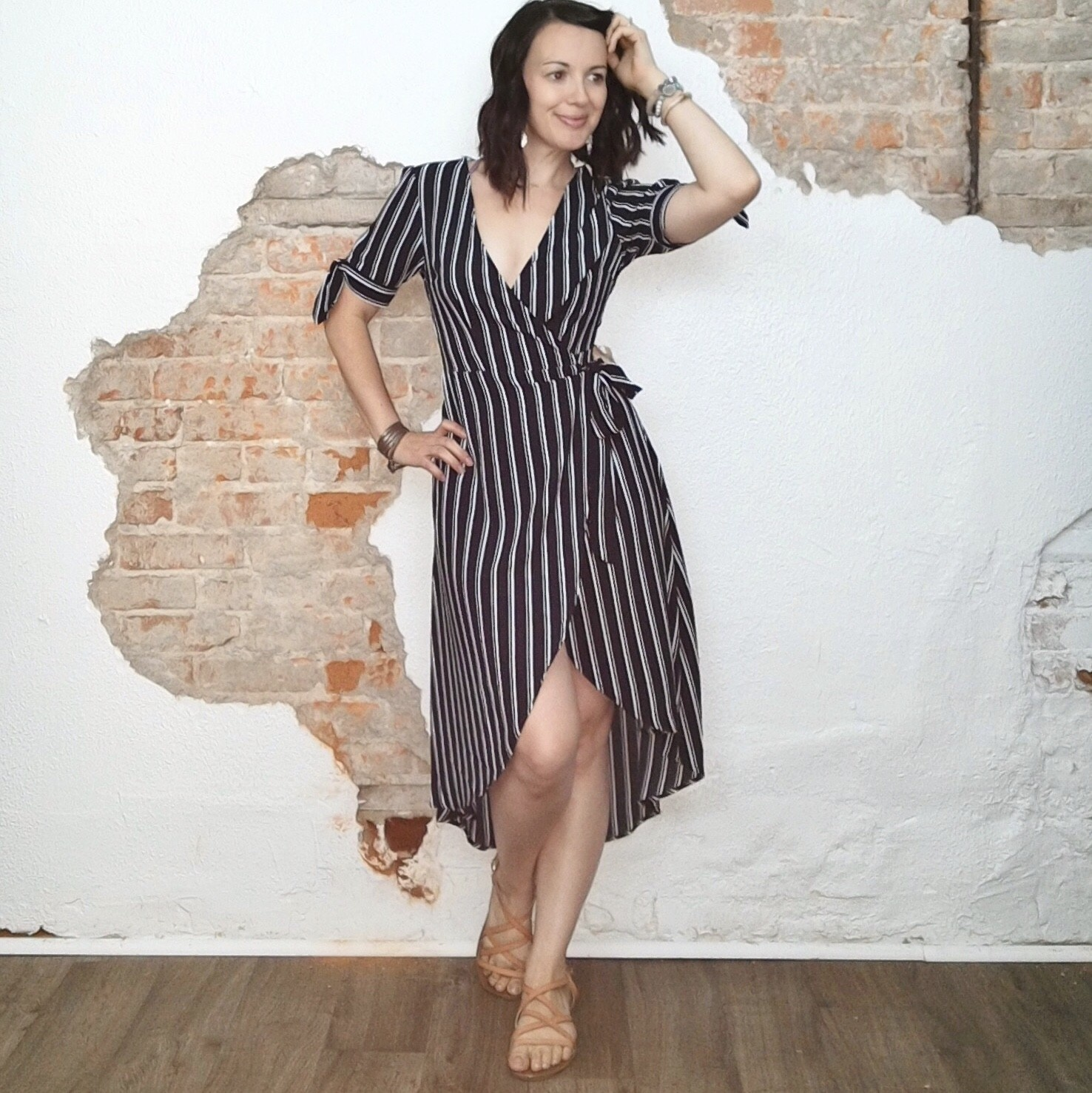 Pin Striped Wrap Dress