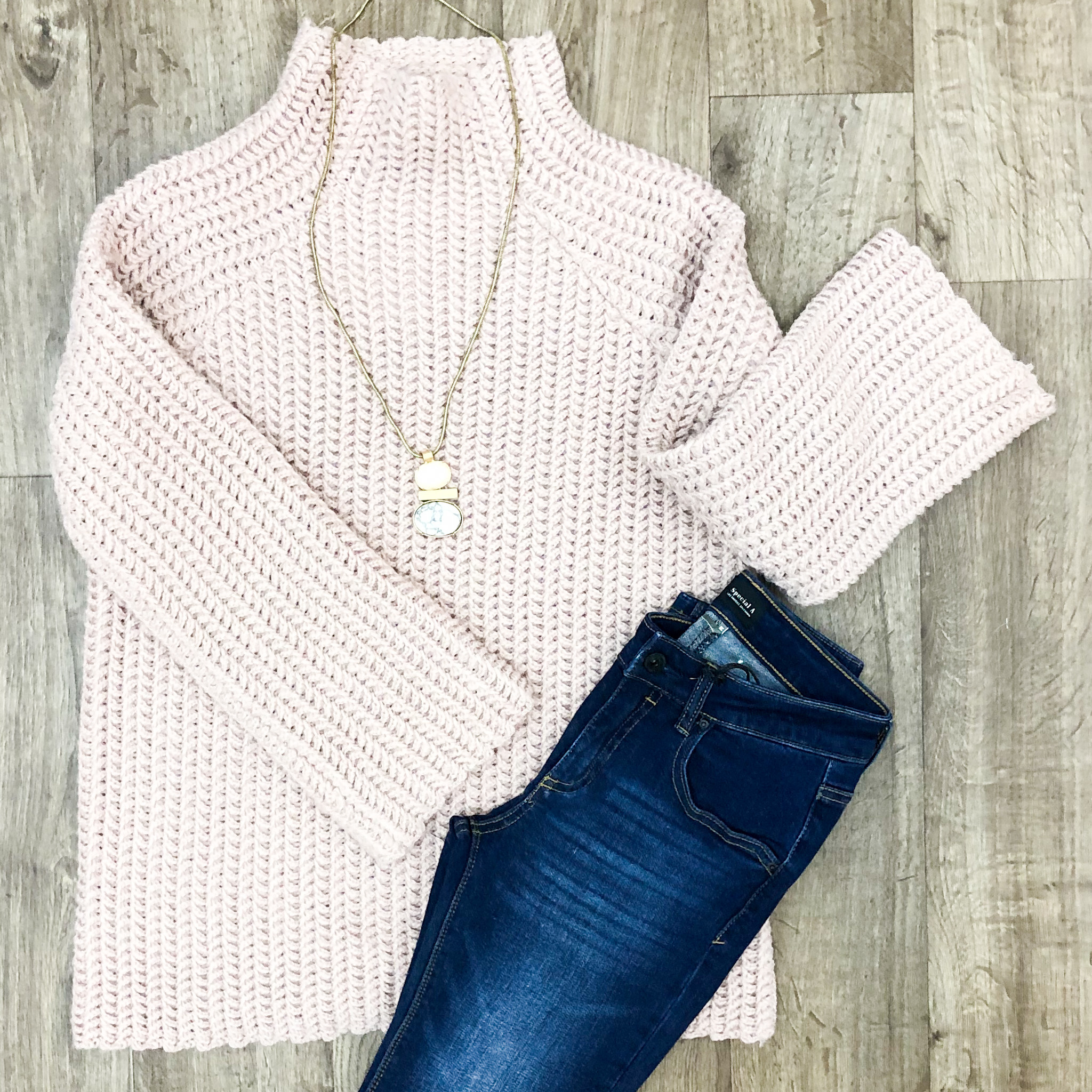 Blush High Neck Twill