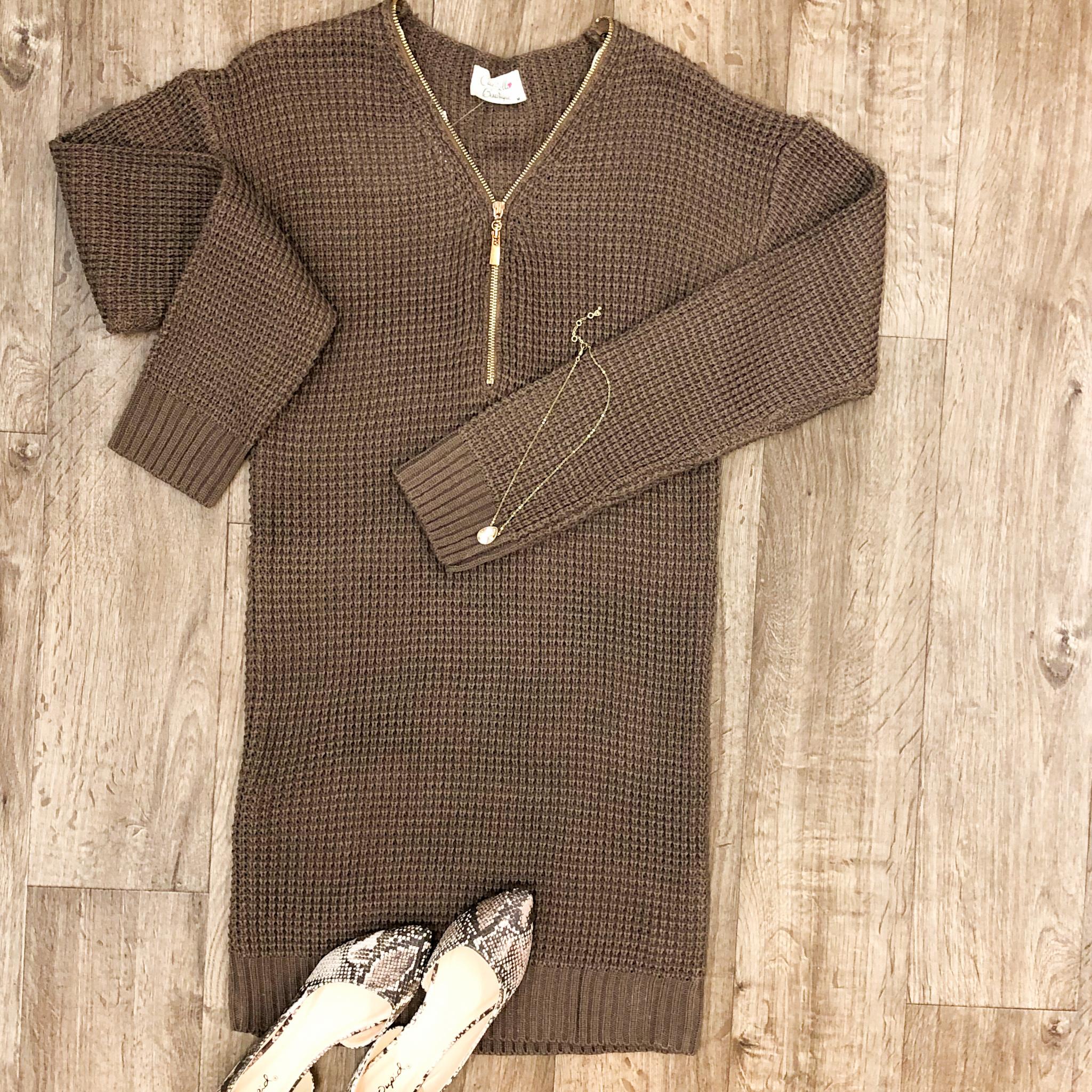 Knitted & Zipped Sweater Dress