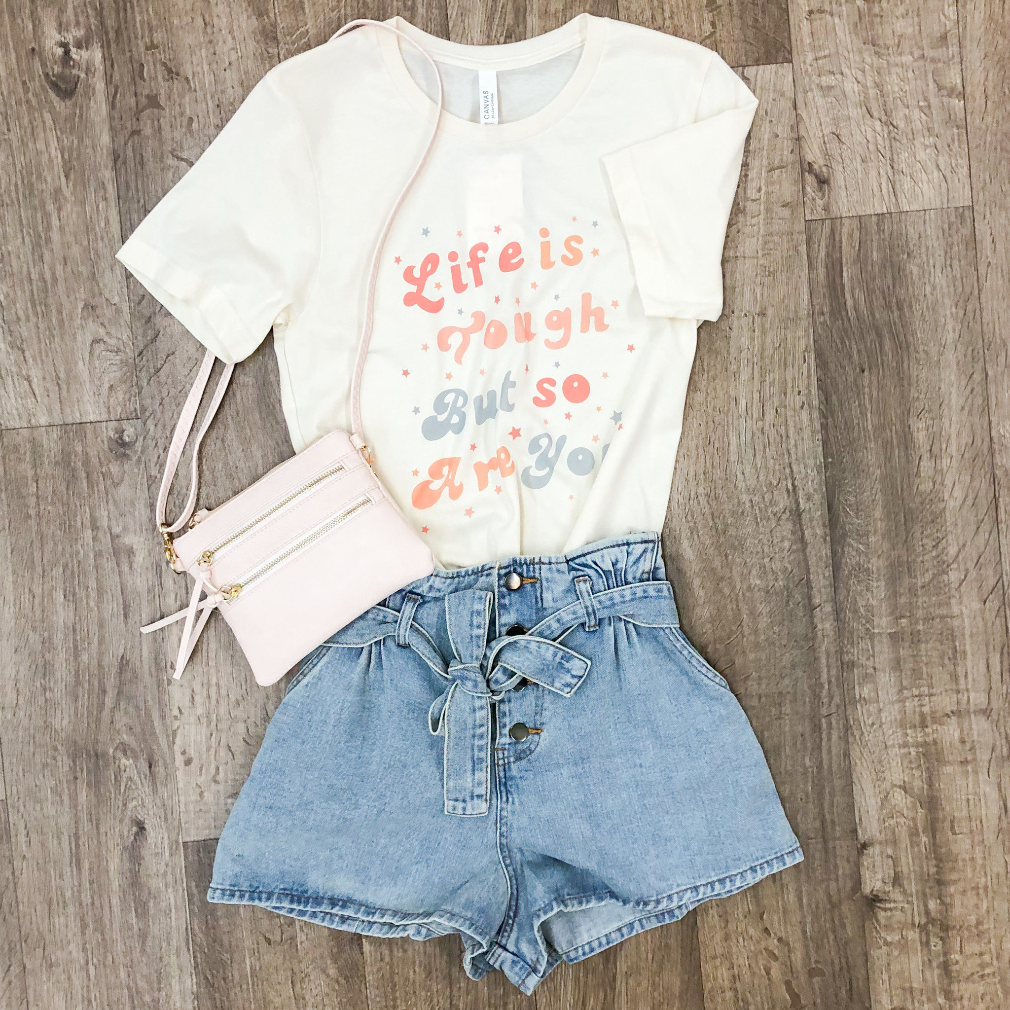 Button Up Belted Denim Shorts