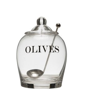 "4"" Round Olives Jar with Steel Spoon"